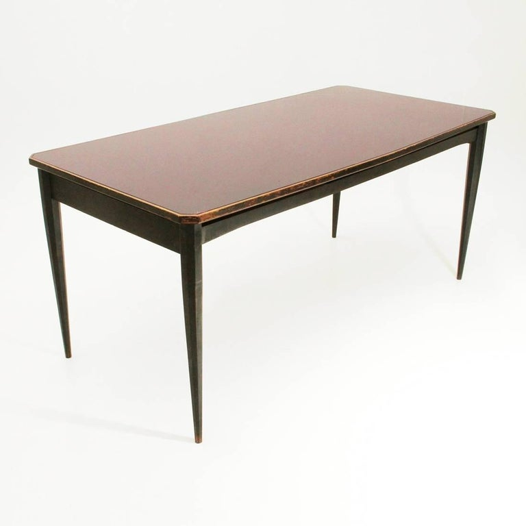 Mid Century Modern Italian Black Dining Table With Glass Top 1960s For