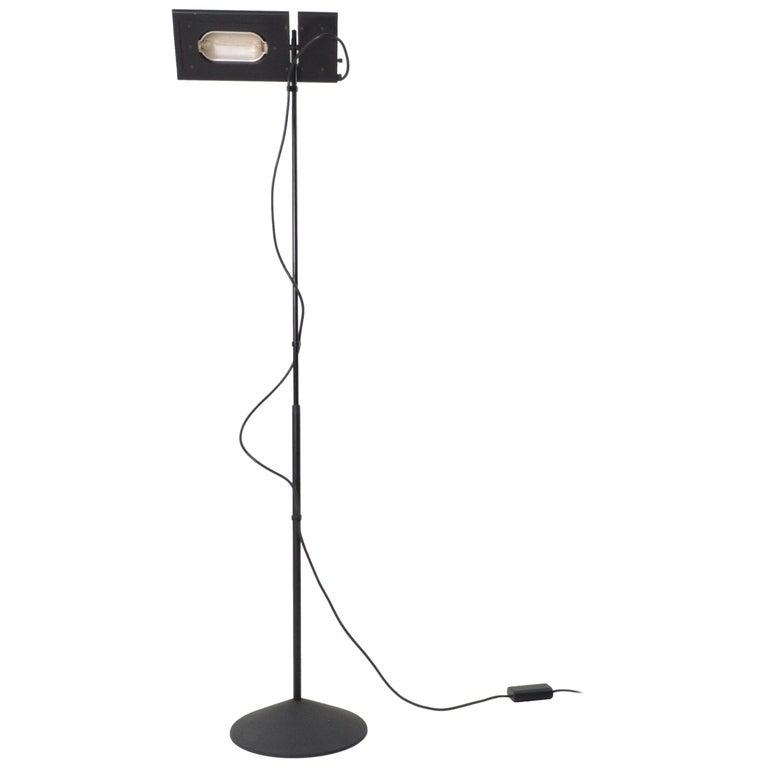 Italian Black Duna Terra Telescopic Tall Halogen Floor Lamp, 1980s For Sale