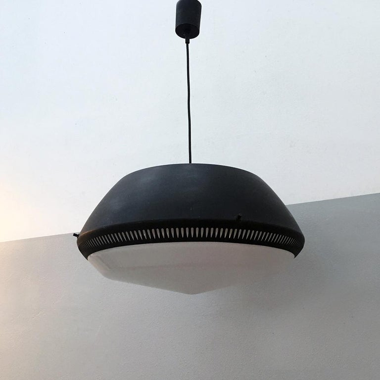 Italian Black Enameled Metal Chandelier by Gio Ponti for Greco, 1950s For Sale 7