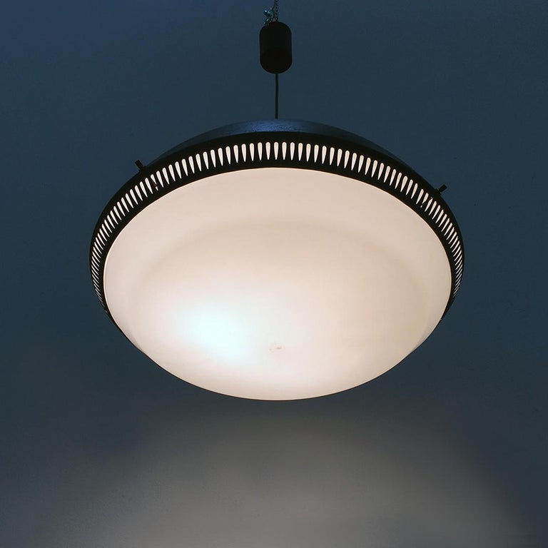 Italian Black Enameled Metal Chandelier by Gio Ponti for Greco, 1950s For Sale 8