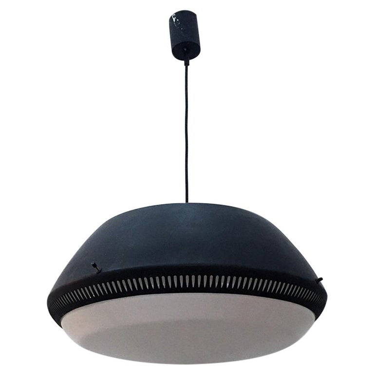 Italian Black Enameled Metal Chandelier by Gio Ponti for Greco, 1950s For Sale