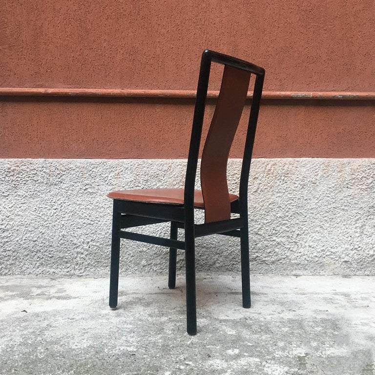 Modern Italian Black Enameled Wood and Leather Chair, 1980s For Sale