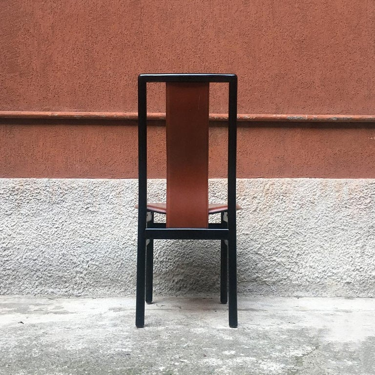 Italian Black Enameled Wood and Leather Chair, 1980s In Good Condition For Sale In MIlano, IT