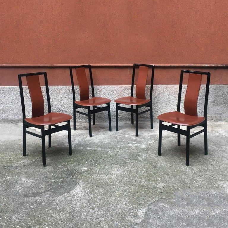 Late 20th Century Italian Black Enameled Wood and Leather Chair, 1980s For Sale