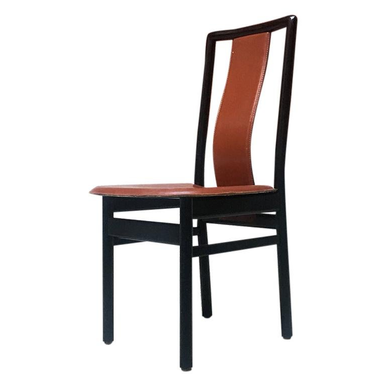 Italian Black Enameled Wood and Leather Chair, 1980s For Sale