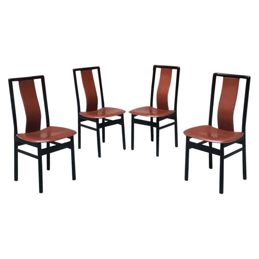 Italian Black Enameled Wood and Leather Chairs, 1980s