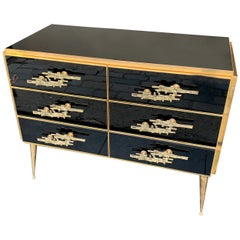 Italian Black Glass and Brass Chest of Drawers with Brutalist Brass Handles