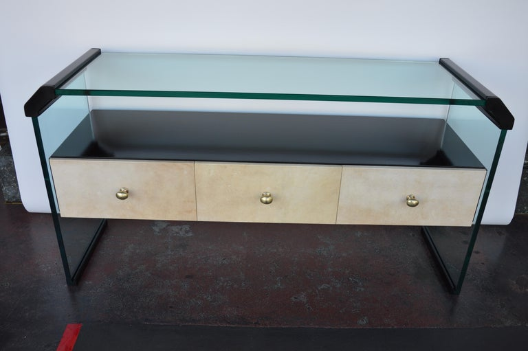 Italian Black Lacquer Console with Parchment For Sale 4