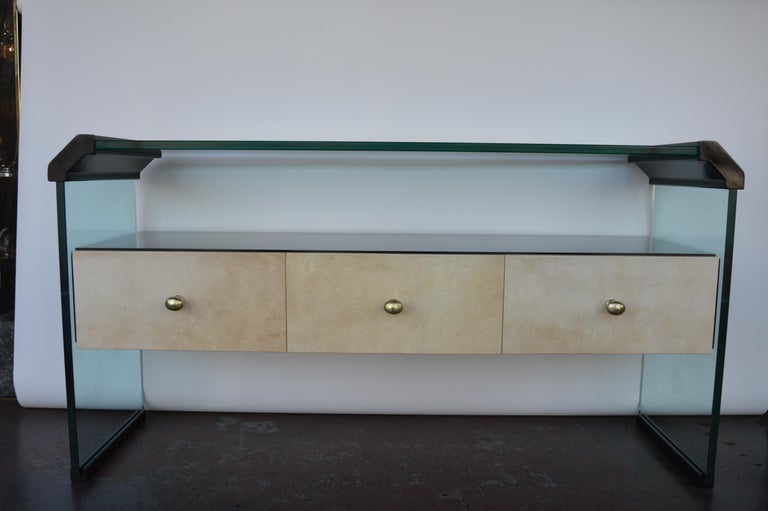 Italian Black Lacquer Console with Parchment For Sale 6