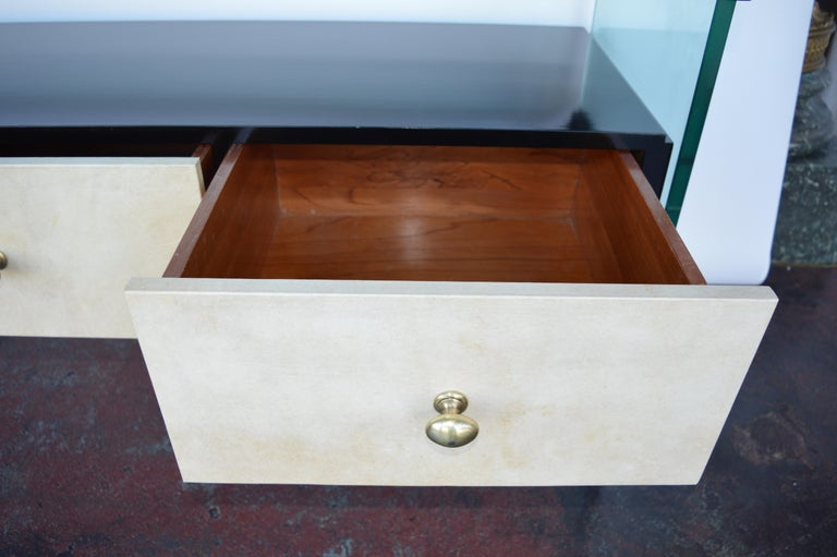 Mid-Century Modern Italian Black Lacquer Console with Parchment For Sale