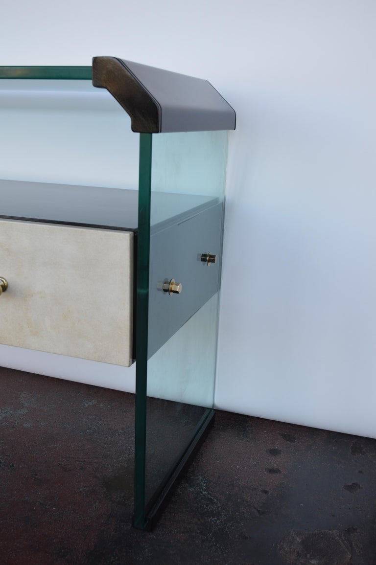 Late 20th Century Italian Black Lacquer Console with Parchment For Sale