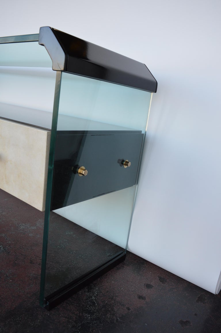 Glass Italian Black Lacquer Console with Parchment For Sale