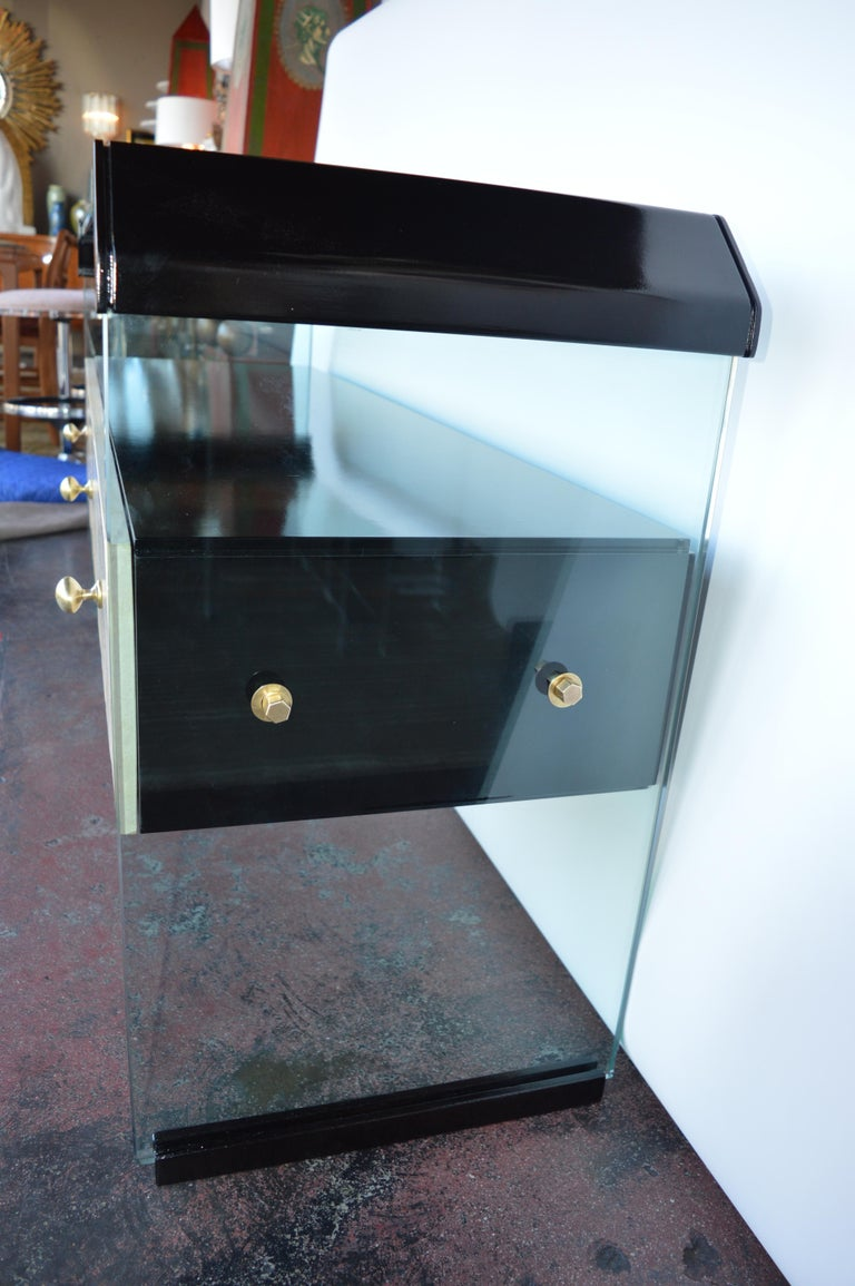 Italian Black Lacquer Console with Parchment For Sale 1
