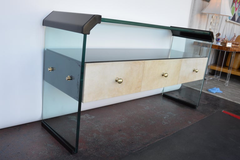 Italian Black Lacquer Console with Parchment For Sale 3