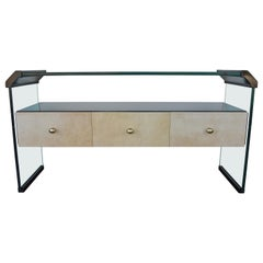 Italian Black Lacquer Console with Parchment