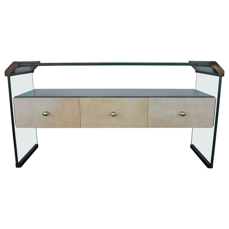 Italian Black Lacquer Console with Parchment For Sale