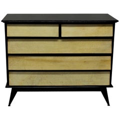 Italian Black Lacquered and Parchment Chest