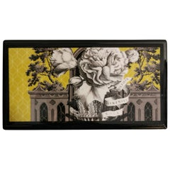 Italian Black Lacquered and Printed Wooden Box