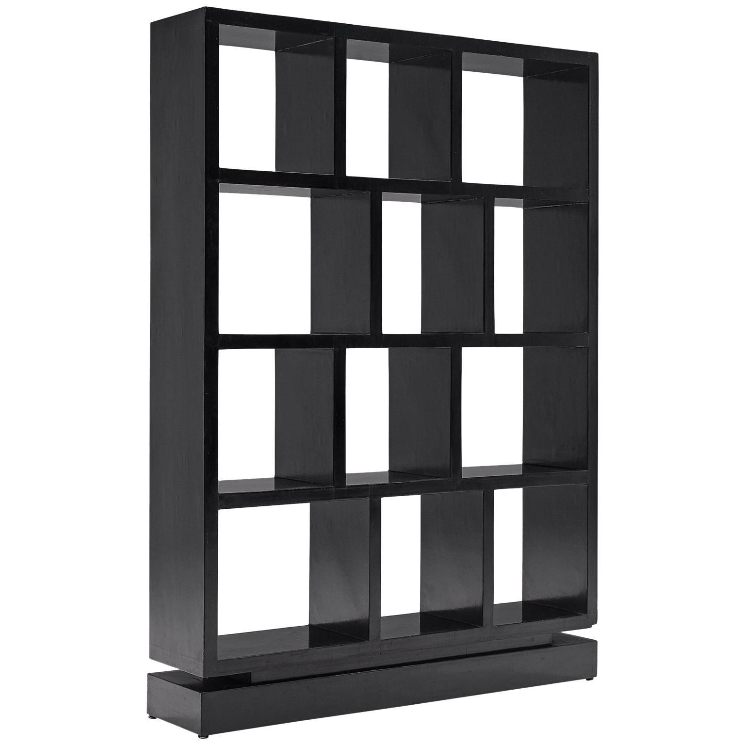 Italian Black Bookcase 1950s