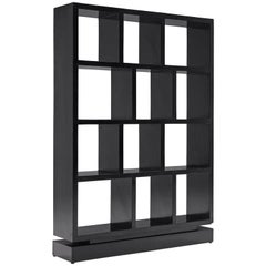 Italian Black Lacquered Bookcase, 1930s