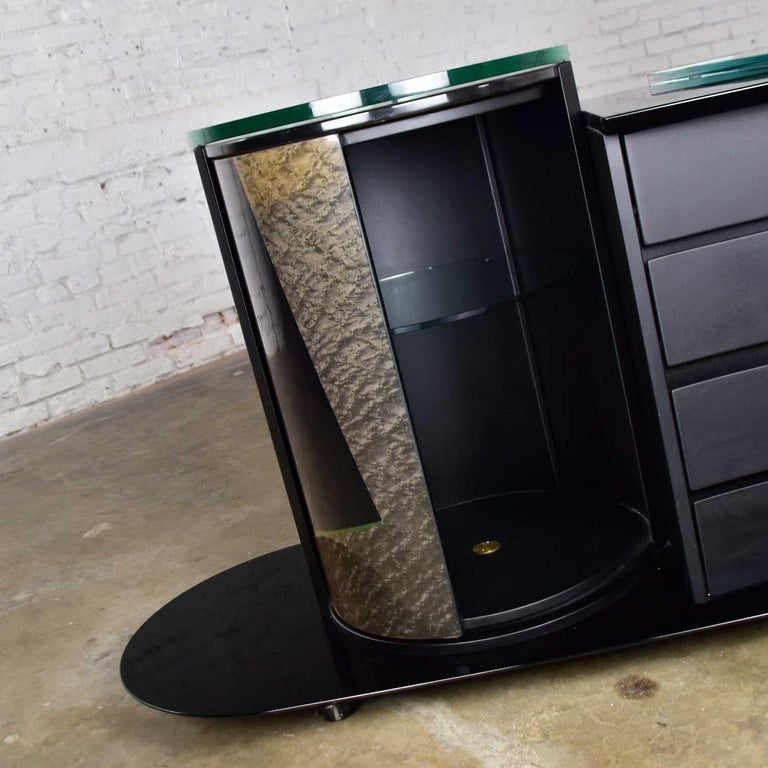 Italian Black Lacquered Buffet Credenza w/ Geometric Inlay by Pietro Costantini For Sale 8