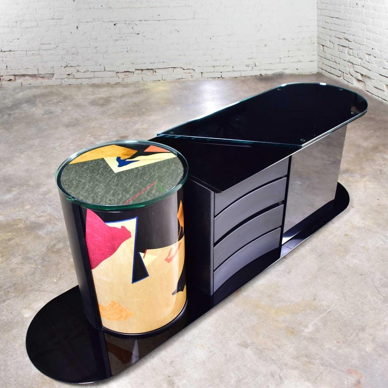 Italian Black Lacquered Buffet Credenza w/ Geometric Inlay by Pietro Costantini In Good Condition For Sale In Topeka, KS