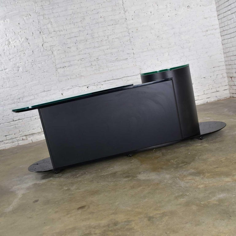 Wood Italian Black Lacquered Buffet Credenza w/ Geometric Inlay by Pietro Costantini For Sale