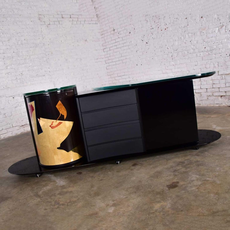 Italian Black Lacquered Buffet Credenza w/ Geometric Inlay by Pietro Costantini For Sale 2