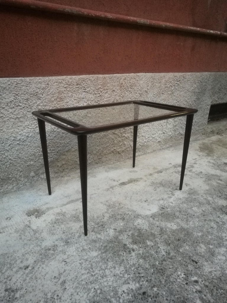 Italian Black Lacquered Wood and Glass Coffee Table, 1950s ...