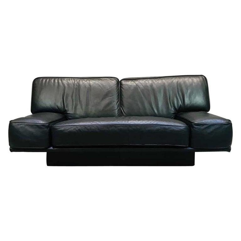 Sensational Italian Black Leather 2 Seat Sofa By Arketipo Evergreenethics Interior Chair Design Evergreenethicsorg