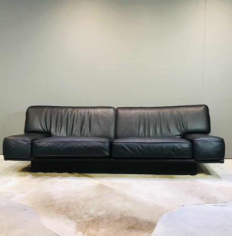 Italian Black Leather 3-Seat Sofa by Arketipo