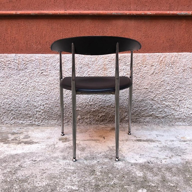 Italian Black Leather and Chromed Steel Chairs, 1970s For Sale 5