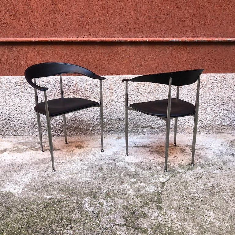 Italian Black Leather and Chromed Steel Chairs, 1970s For Sale 7