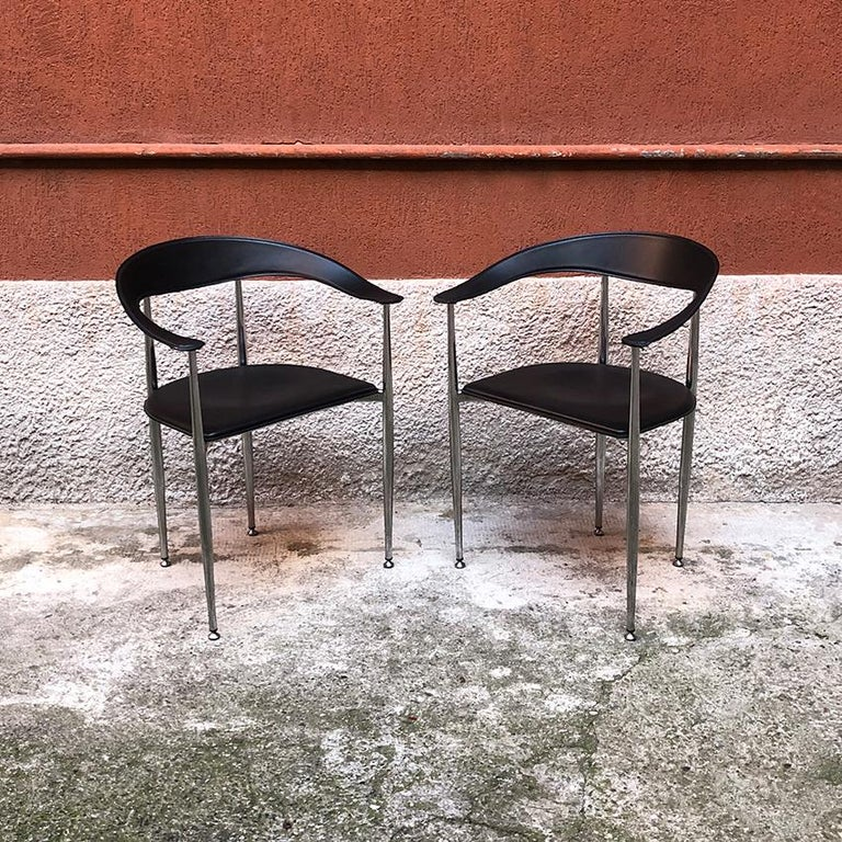 Post-Modern Italian Black Leather and Chromed Steel Chairs, 1970s For Sale