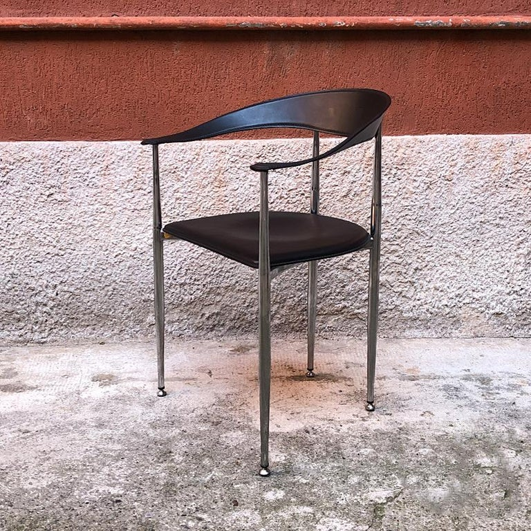 Italian Black Leather and Chromed Steel Chairs, 1970s In Good Condition For Sale In MIlano, IT