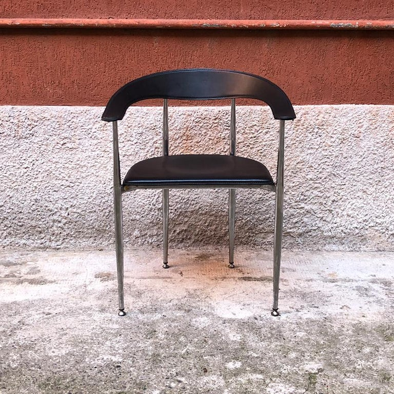 Late 20th Century Italian Black Leather and Chromed Steel Chairs, 1970s For Sale