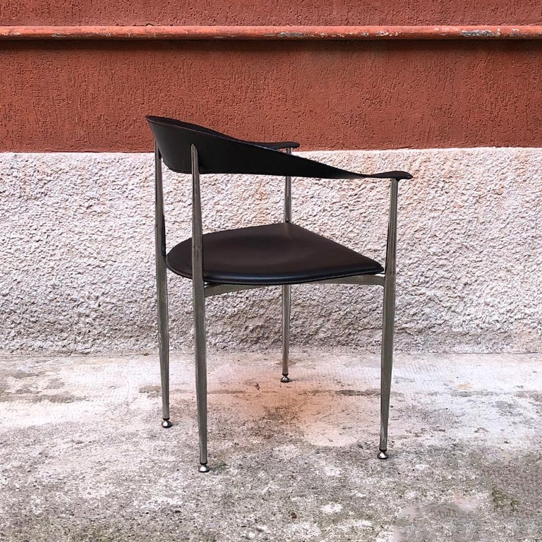 Italian Black Leather and Chromed Steel Chairs, 1970s For Sale 1