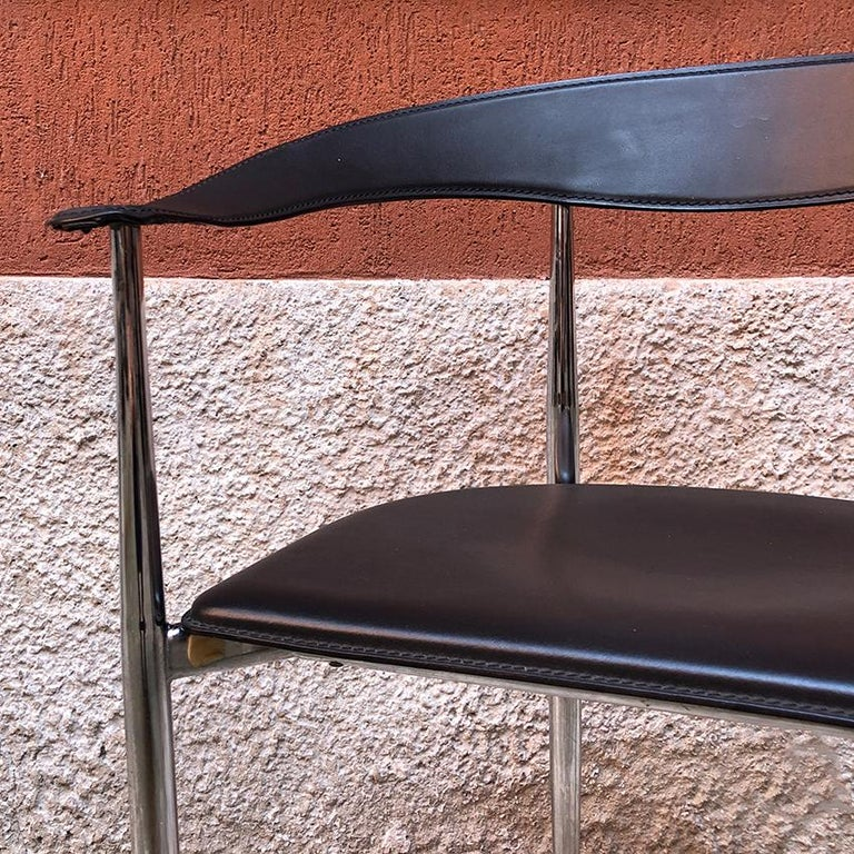 Italian Black Leather and Chromed Steel Chairs, 1970s For Sale 3