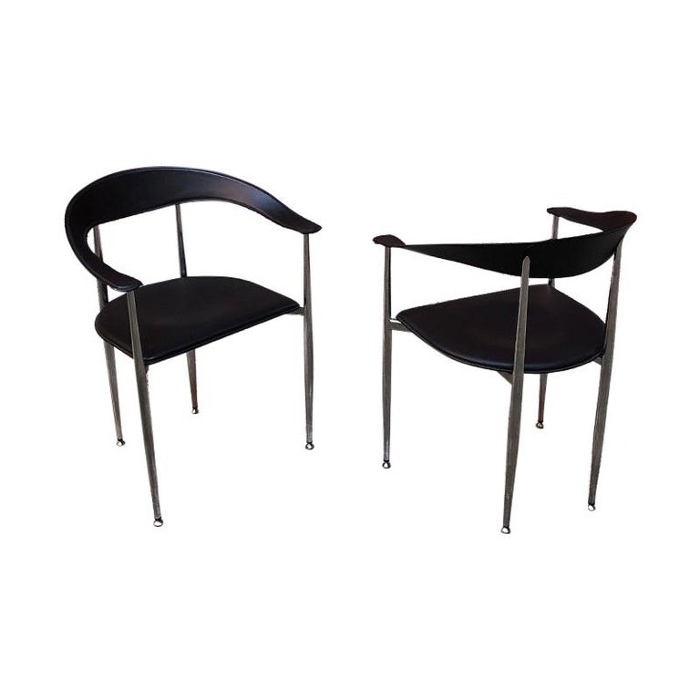 Italian Black Leather and Chromed Steel Chairs, 1970s For Sale