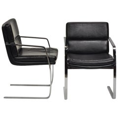 Italian Black Leather Cantilever Chairs