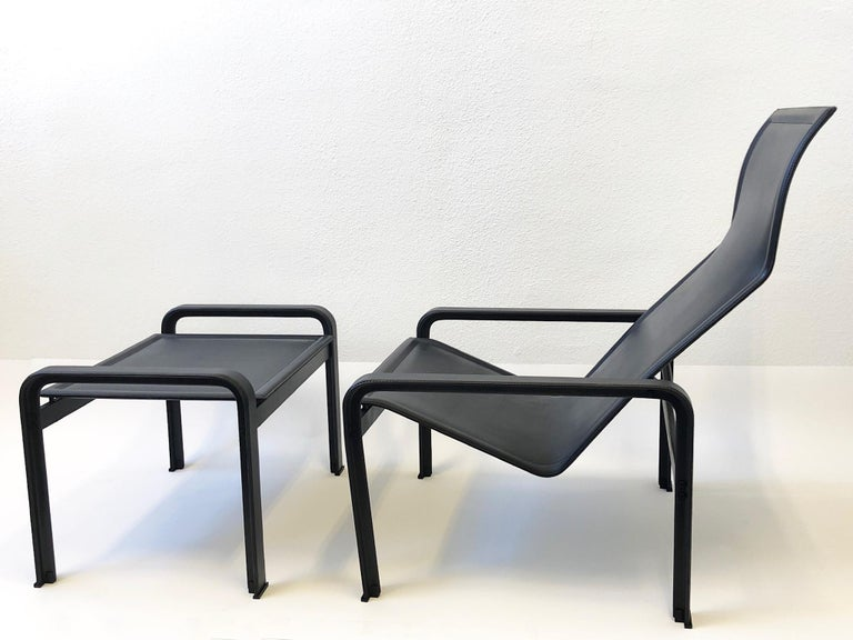 Late 20th Century Italian Black Leather Lounge Chair and Ottoman by Matteo Grassi For Sale
