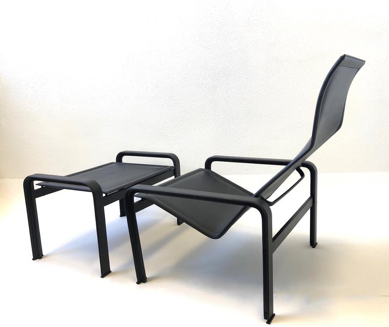 Steel Italian Black Leather Lounge Chair and Ottoman by Matteo Grassi For Sale