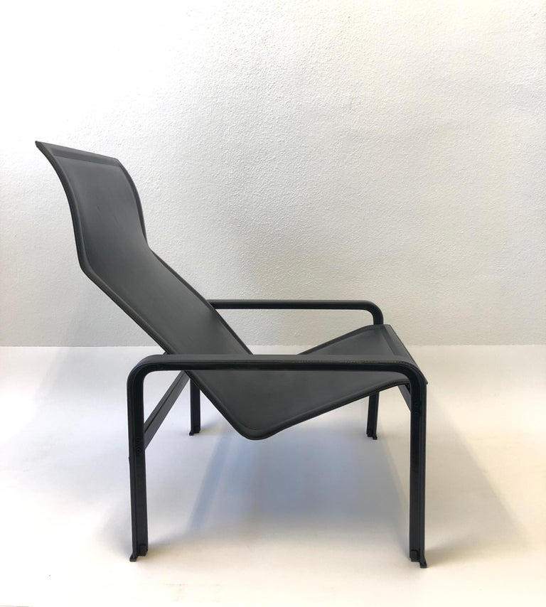 Italian Black Leather Lounge Chair and Ottoman by Matteo Grassi For Sale 1