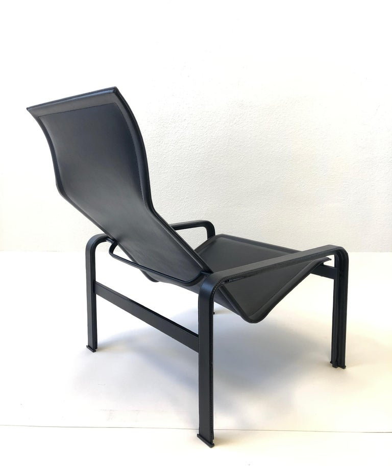 Italian Black Leather Lounge Chair and Ottoman by Matteo Grassi For Sale 2