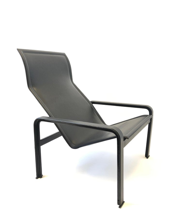 Italian Black Leather Lounge Chair and Ottoman by Matteo Grassi For Sale 3