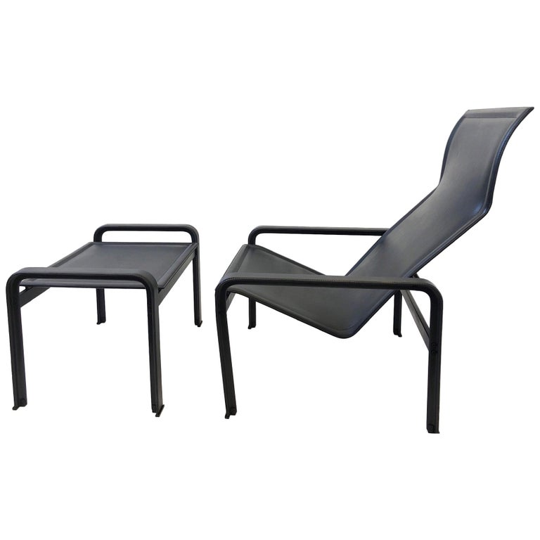 Italian Black Leather Lounge Chair and Ottoman by Matteo Grassi For Sale