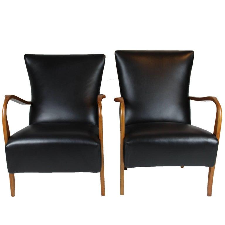 Italian Black Leather Pair of Armchairs, 1950s