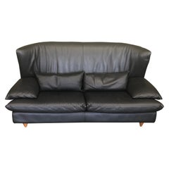 Italian Black Leather Postmodern Loveseat by i4 Mariani for the Pace Collection