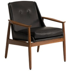 Italian Black Leather Walnut Wood Armchair, by Pizzetti 1950s