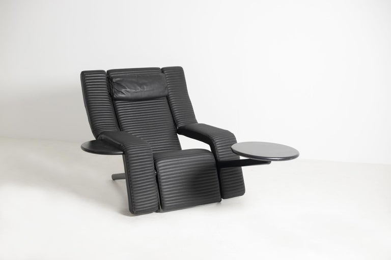 Modern Italian Black Lounge Chair Kilkis by Ammannati & Vitelli for Brunati, 1980s For Sale